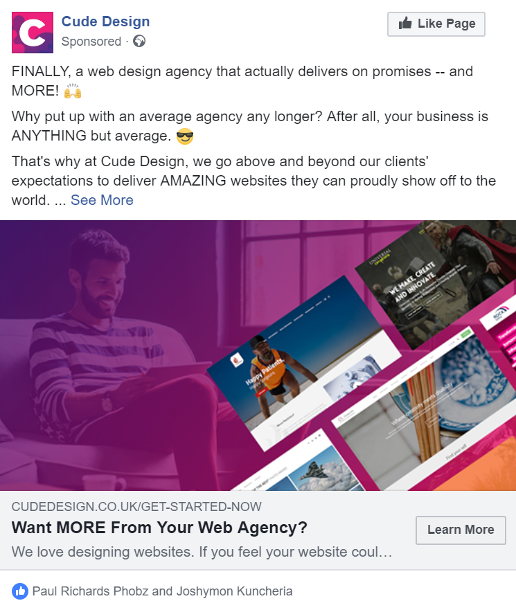 Unhappy With Your Web Design Agency Facebook Ad