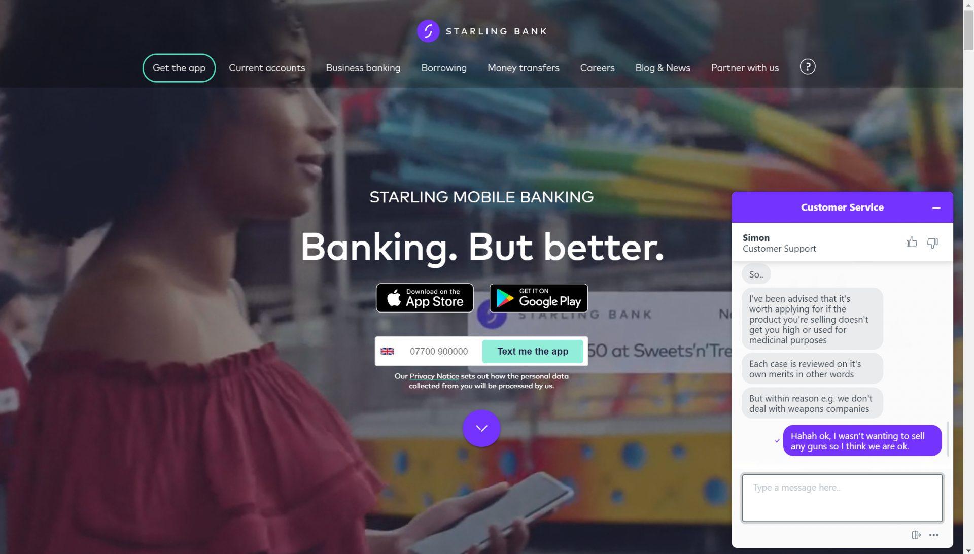 Starling Bank Accepting CBD Business Bank Accounts
