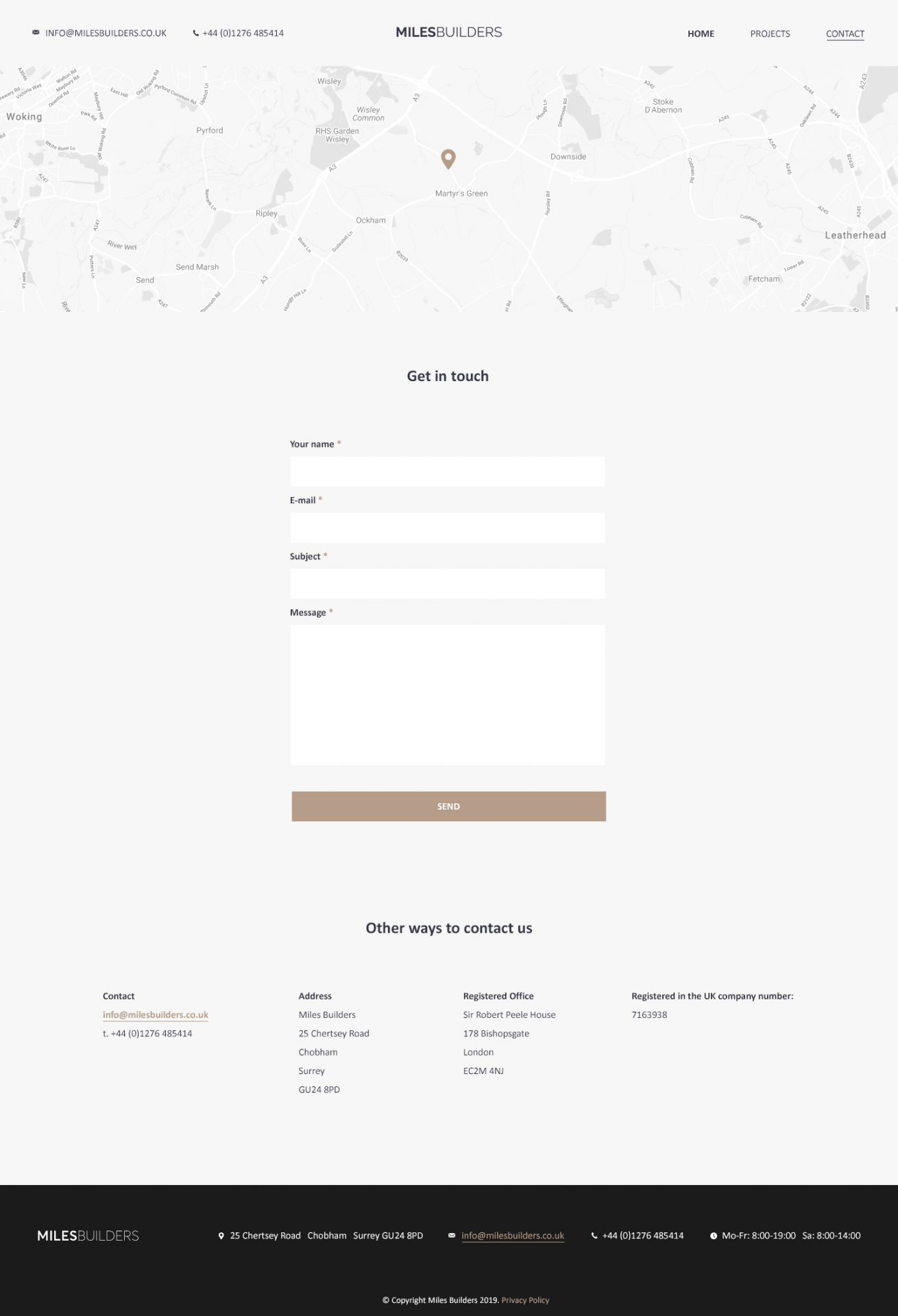 Miles Builders - Contact Page Design
