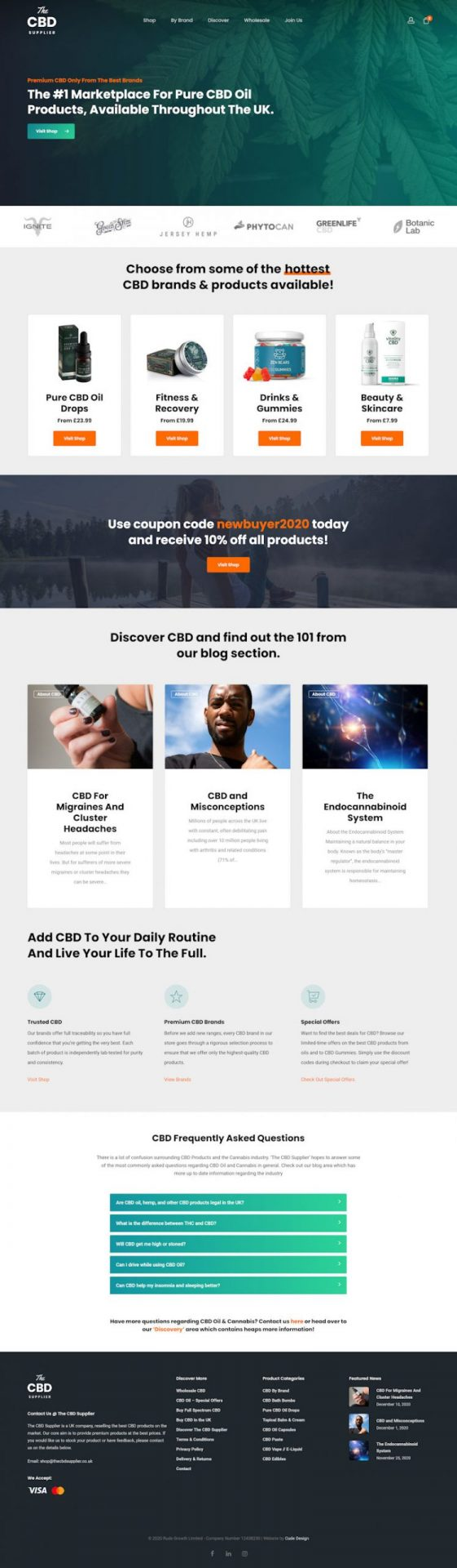 The CBD Supplier Website Design by Cude Design